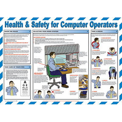 Health & Safety for Computer Operators chart - from Signs & Plastic Products Ltd.  Detailing best working practices and guidance on the VDU (Display Screen) Regs.